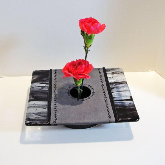 Λιωμένο γυαλί Ikebana Βάζο Μαύρο Γκρι Home Decor Λουλούδια Pin Frog Bowl Πίνακας Βάζο Flower Bud Βάζο δώρα κάτω από 50 Άνοιξη Home Decor