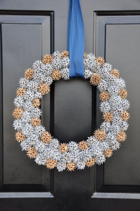 Sweet gum ball wreath, sweetgum pod, silver, gold, candle ring, centerpiece, sweet gum