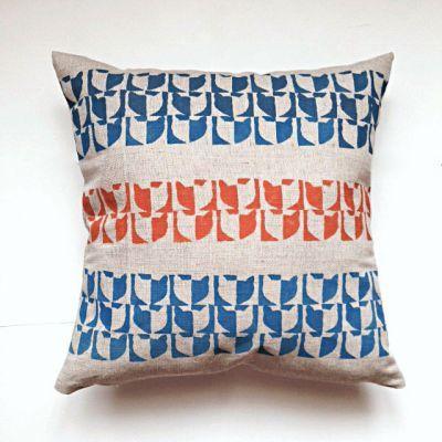 Natural linen Koshka Fishka pillow with hand made patterns of Fishka cat face
