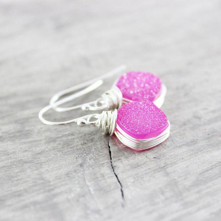 HOT PINK DRUZY GEODE SILVER EARRINGS | Earrings | Necklace | Jewelry | Gemstone Jewelry | #gemstone #druzy #gemstonejewelry #jewelry #handmadejewelry | www.starlettadesigns.com
