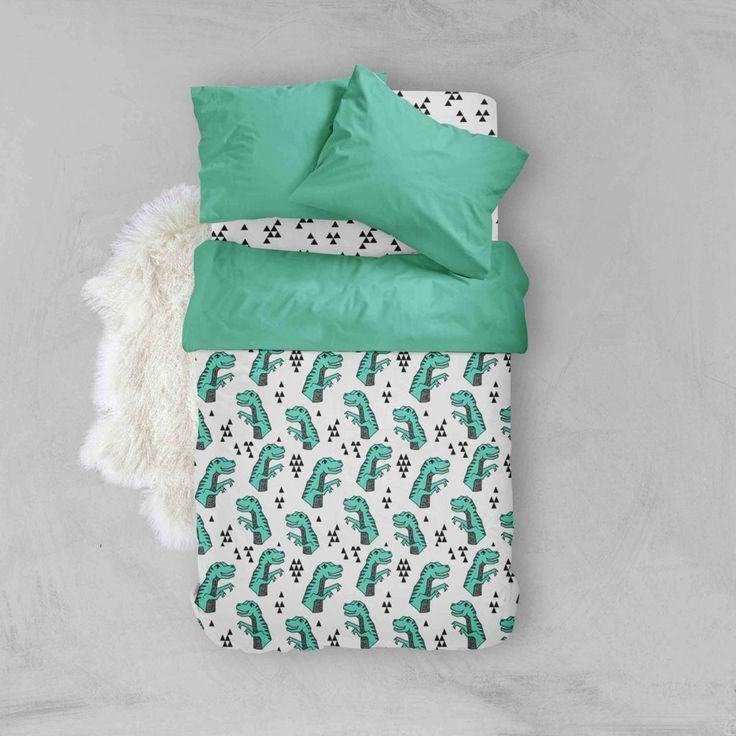 Boy Toddler Bedding Sets - Green Dinosaur- Toddler Duvet Cover - Kids Bedding - Pillow Case - Kids Duvet Cover - Comforter - Flat Sheet - Orange Blossom Special