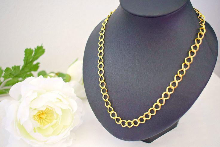 Gold Chain Necklace - Everyday Jewelry - Plain Necklace - Chainmail Jewelry - Curb Chain Necklace - Lightweight Jewelry by SkadiJewelry on Etsy
