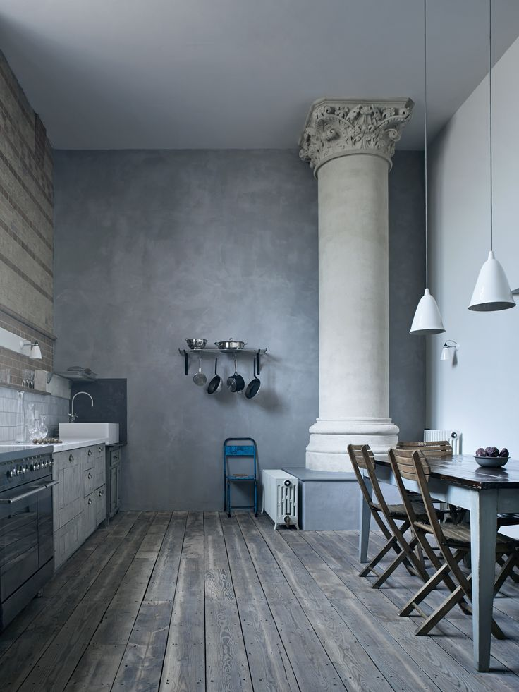 Mark Lewis Design, kitchen.  I am not sure that there any many people with a pillar this beautiful in the corner of their kitchen.