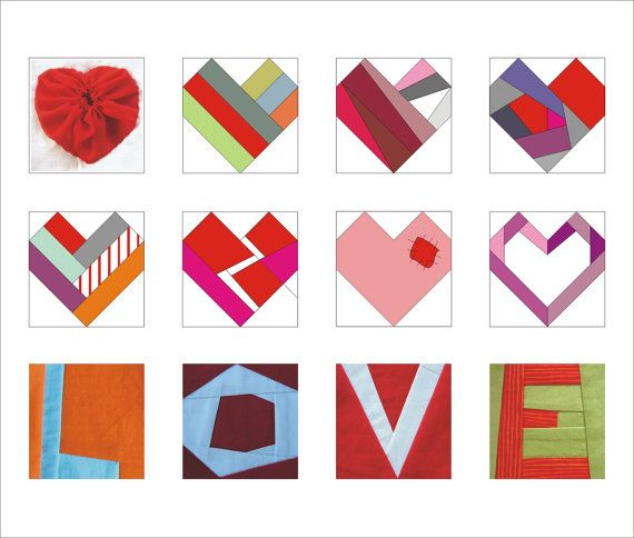 Valentine PDF paper pieced Pattern quilt LOVE and hearts instant download-from RightPatterns on Etsy