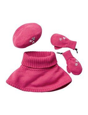 Bei diesem hübschen Set für Mädchen sind Mütze, Schalkragen und Fäustlinge perfekt aufeinander abgestimmt. In Dunkelgrau oder Rosa erhältlich sorgen die Stickereien für kleine Highlights. Dank der Karabinerhaken lassen sich die Handschuhe an warmen Tagen ganz einfach an der Winterjacke befestigen.  Mädchenset aus Mütze, Schalkragen und Fäustlingen: Strick, 100 % Polyacryl. Ungefüttert. Rustikale Stickereien. Rippenbündchen. Handschuhe mit Karabinerhaken zur Befestigung an den Winterjacken…