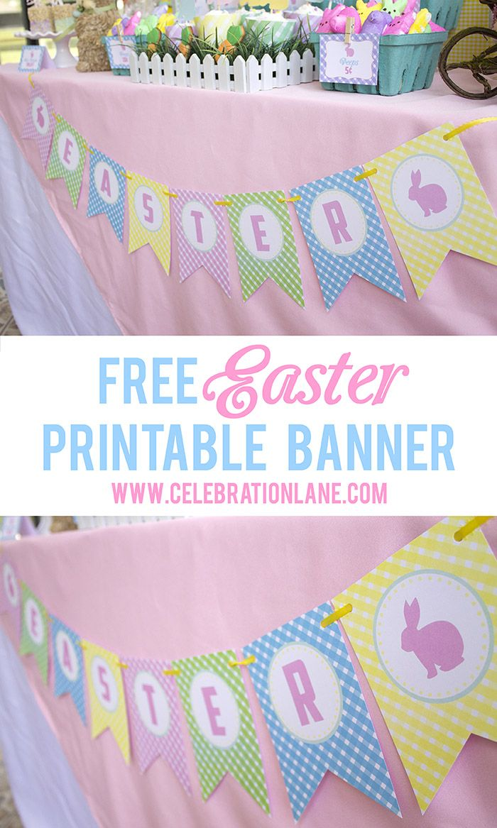 FREE Easter Printable Banner - the pastel gingham pattern is so pretty for Spring! www.celebrationlane.com