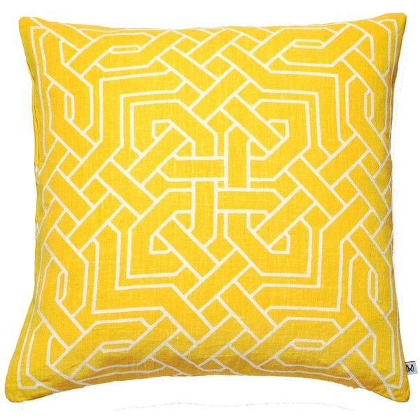 Nina Kullberg - Istanbul Yolk Yellow Cushion (335 ILS) ❤ liked on Polyvore featuring home, home decor, throw pillows, yellow accent pillows, patterned throw pillows, handmade home decor, yellow home accessories and feather pillow inserts