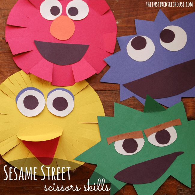 If your kids like Sesame Street, this will be a fun fine motor activity for them!  Great way to get them practicing with scissors.