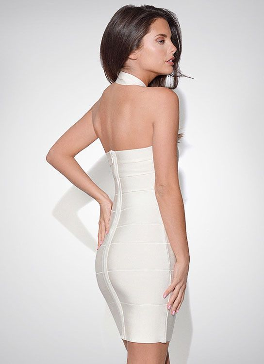 White Halter Sleeveless Backless Bandage Dress 18.33