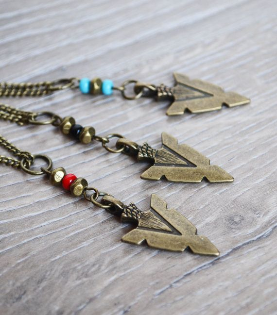 Arrowhead Necklace Unisex, Unisex Arrowhead Necklace, Unisex Native, Tribal Black Seed Beads, Aztec Jewelry Canadian Shop