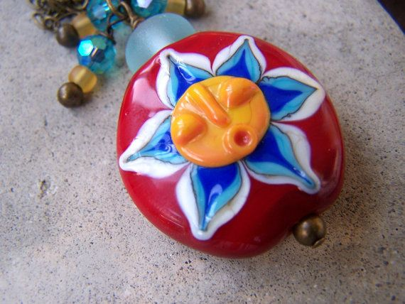 Lampwork Sun Focal Bead Brass Necklace by gristmilldesigns on Etsy