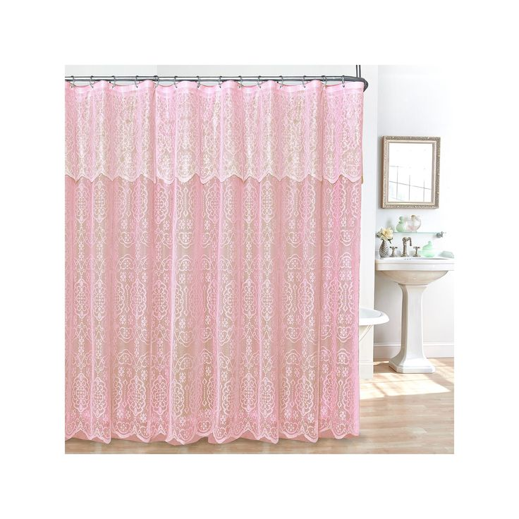 Lace 14-pc. Fabric Shower Curtain, Liner and Hook Set, Pink