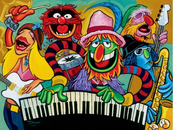 "Disney Fine Art The Muppets ""Electric Mayhem Band"" by Tim Rogerson Limited Edition Hand-Embellished Giclée on Canvas"