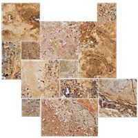 Scabos Brushed Unfilled Chiseled Large Versailles Pattern Travertine Floor Tile $10.99 Sq Ft      Coverage 16.00 Sq Ft per  Box