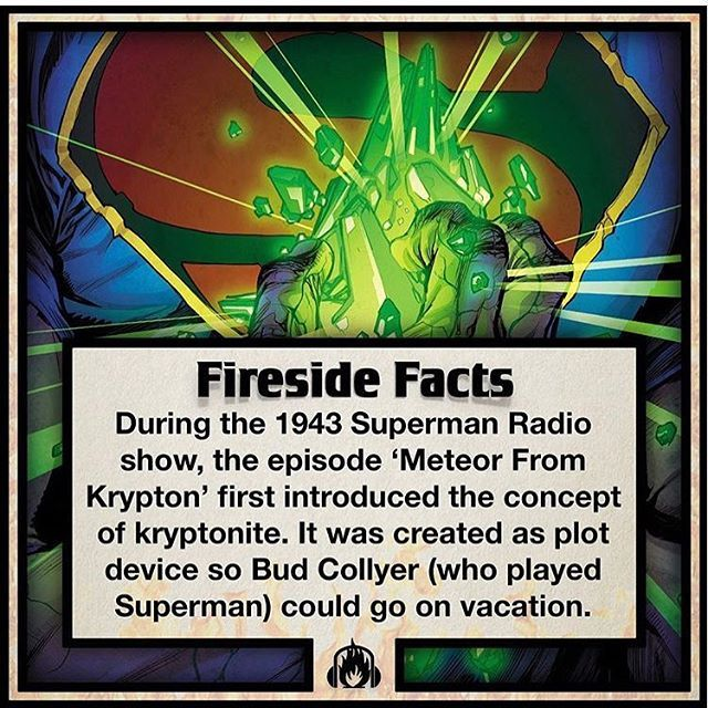 Really cool #Superman #fact from our boys @welcometofireside  I actually knew that #kryptonite was first introduced in the old radio show but I never knew why. Very cool.