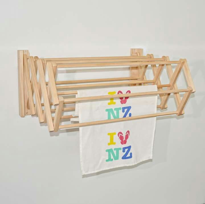 Wall hanging wooden dryer The hang 10 wall dryer  NZ Made by Black Sand Furniture