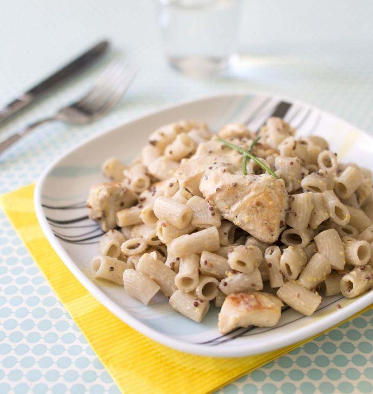 Rigatoni au poulet à la moutarde - Ôdélices : Recettes de cuisine faciles et originales !