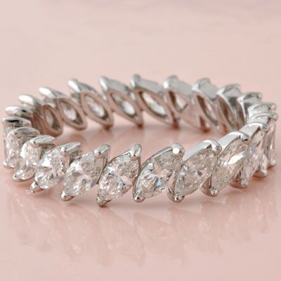 Estate Platinum Marquise-Cut Diamond Eternity Band