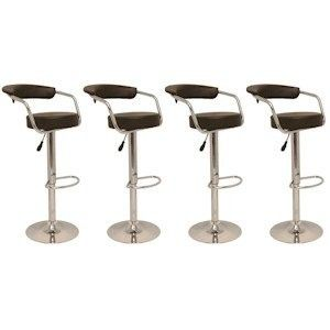 4 Modern Adjustable Counter Swivel Pub Style Bar Stools / Barstools Brown