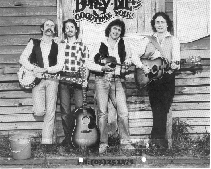 MP 6583. Photo of Bobsy-Die Goodtime Folk. They are photographed outside the Marvel's Potato Factory, near Moira Street in Glen Iris, c.1980.