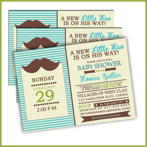 Little Man Baby Shower Invitations/Mustache