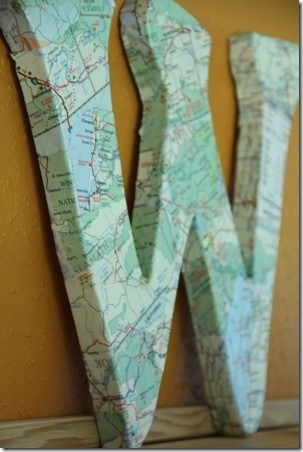 Map Monogram - this could be a great gift using a map from a special trip, or birthplace...  :)  Another cool-ish Guy Gift.