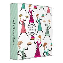 Retro cake & pie girls with dresses and aprons, carrying freshly baked pies and cakes recipe binder or cookbook binder for baker, baking or bakery and other food, cooking or culinary ventures.