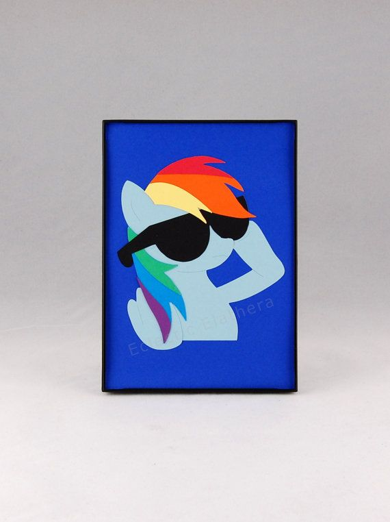 MLP Rainbow Dash Deal With It Sunglasses Framed Silhouette Paper Art 5x7 - My Little Pony Mane 6 on Etsy, $20.00