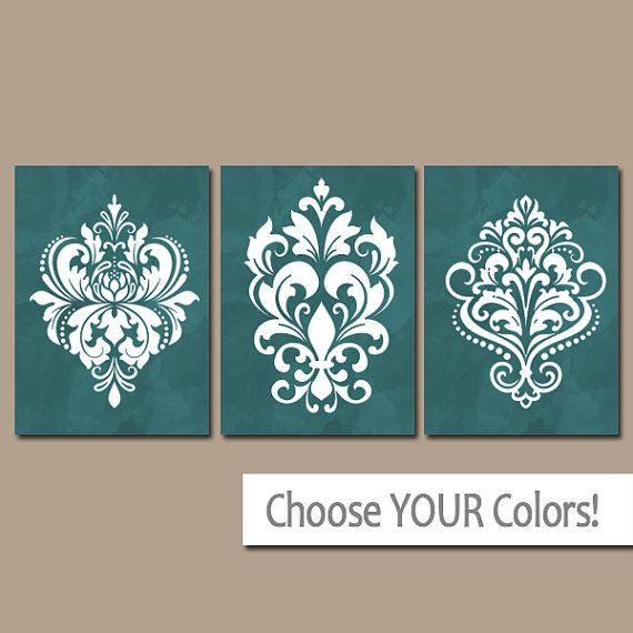 ★GREEN Bedroom Wall Art, Emerald Green, CANVAS or Prints, Green Bathroom Artwork, DAMASK Pictures, French Country Decor, Set of 3, Home Decor