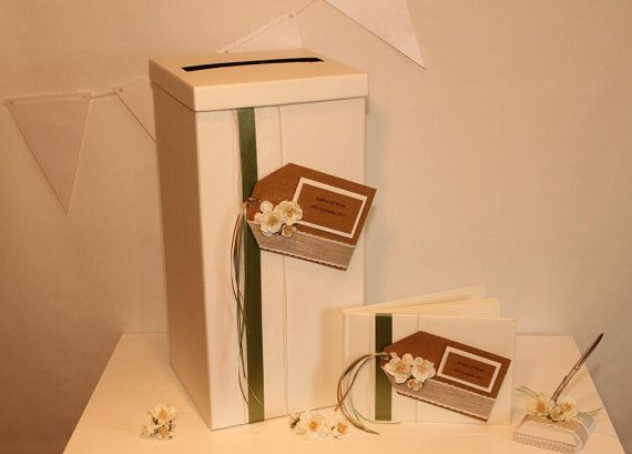 Tall handmade post box guest book and pen set by Aphroditebridal