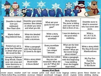 January and Winter Writing Prompt Calendar ~ {Based On Common Core Standards}~ A January writing calendar with 20 writing prompts & Word Bank ~ Four writing journal covers to choose from~ Writer's checklist for students to remind children what to focus on while writing.~ A variety of January and Winter writing paper designs, each with two different line types. I also have other monthly writing calendars available in my store. $