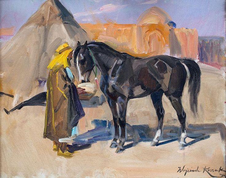 Wojciech Kossak: Arab z koniem olej, tektura, 40 × 49 cm sygn. p. d.: Wojciech Kossak