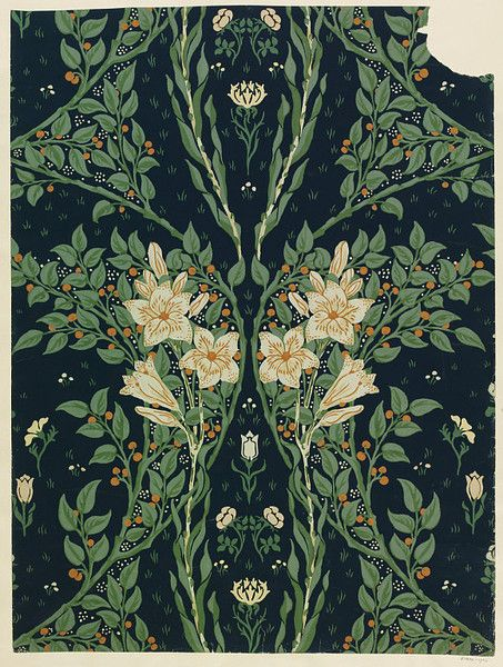 I want to paper a room with this, the half above a chair rail, methinks. Also reminds me of the Haunted Mansion, right before you go into the elevators... (Wallpaper Print -  England 1902 -  Walter Crane)