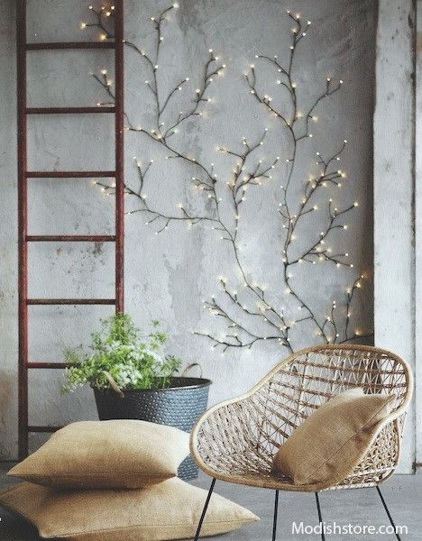 Flexible wire construction allows for infinite variation in our Twinkling Willow Wall Lights. Tiny bulbs at the end of floral-tape-wrapped wire illuminate brightly when the branches are plugged in. These completely customizable branches are available in two sizes.