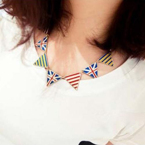 Yellow Stripe British Flag Design Triangle Decor Necklace