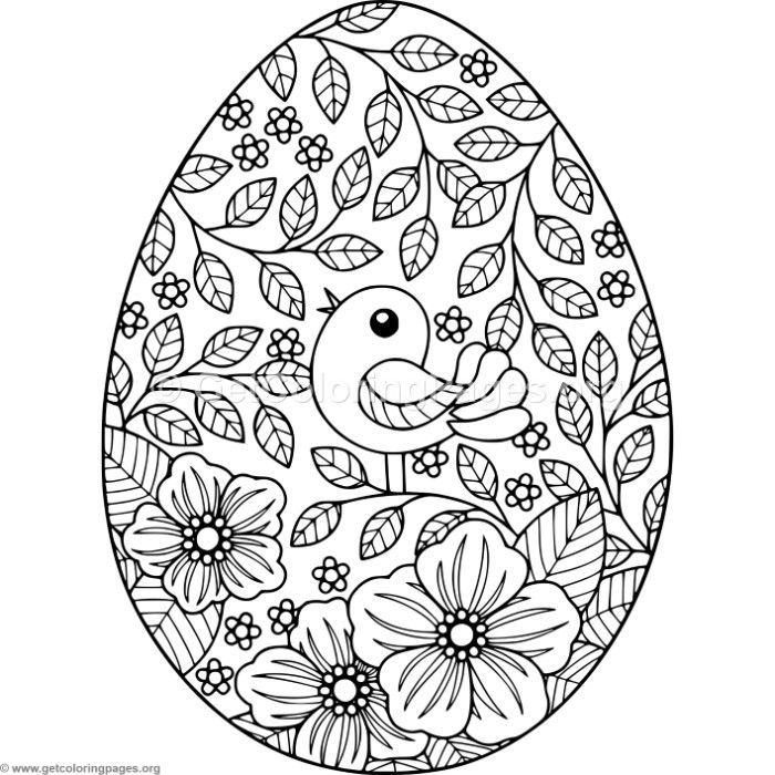 Bird and Flowers Easter Egg Coloring Pages  Easter egg coloring