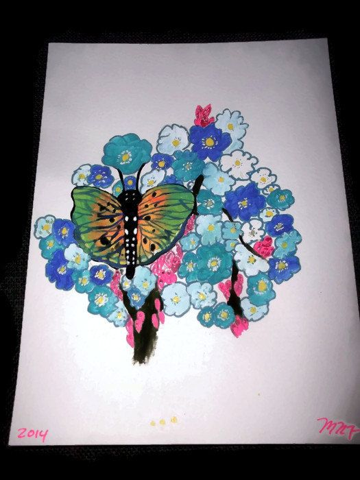Teal and Orange Madagascar Butterfly with Blue Forget by missy69
