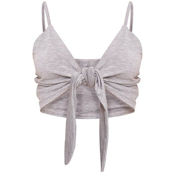 Grey Knot Front Jersey Bralet ❤ liked on Polyvore featuring tops, tie top, gray top, knot front top, bralet tops and jersey top