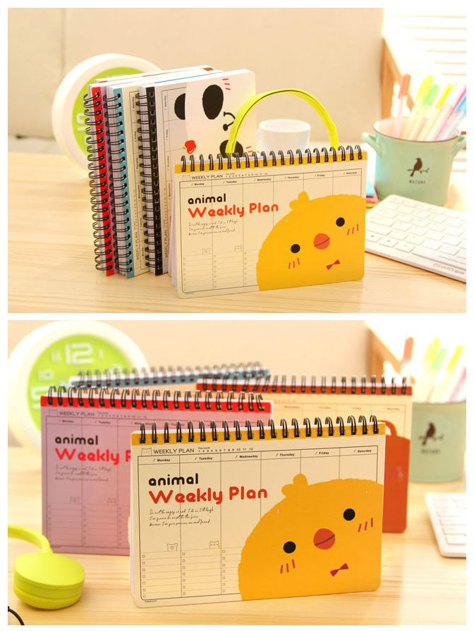 Weekly plan | korean stationery | Sloth | Notepad | Kawaii | Compact | duck | Chicken | Panda | Bear | Schedule – TodTots
