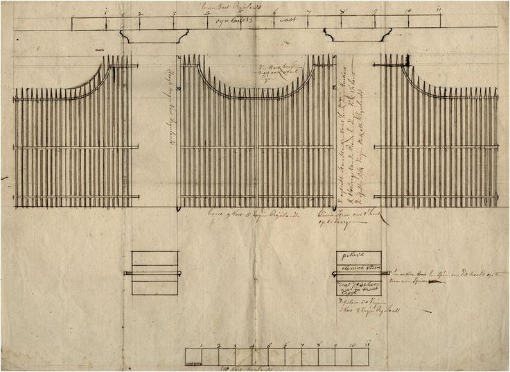 Eindhoven - Ontwerp voor afscheiding met stenen pilaren en ijzerenhekwerk - 1750 - 1800