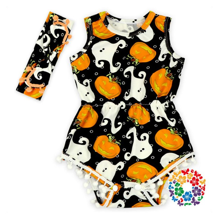 >> Click to Buy << Halloween newborn baby costume toddler girl pom romper+headband 2pcs set baby pumpkin outfits toddler baby clothing set #Affiliate