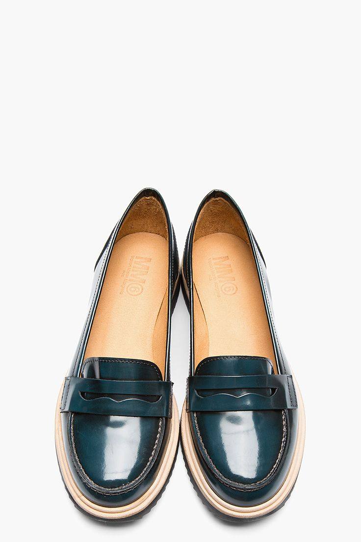 MM6 Maison Martin Margiela Teal Waxed Leather Loafers for women | SSENSE