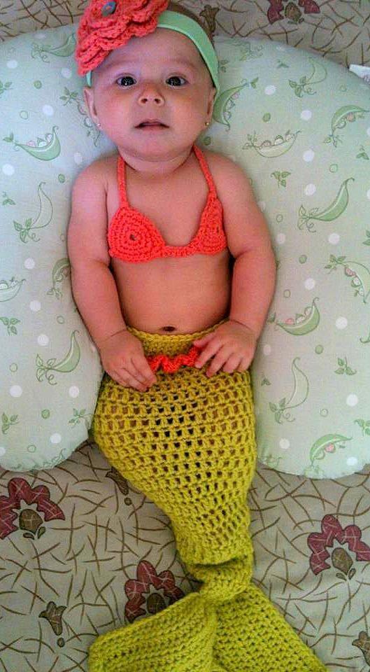 mermaid baby girl crochet cocoon tail and bikini top photography prop halloween costume - Baby Mermaid Halloween Costume