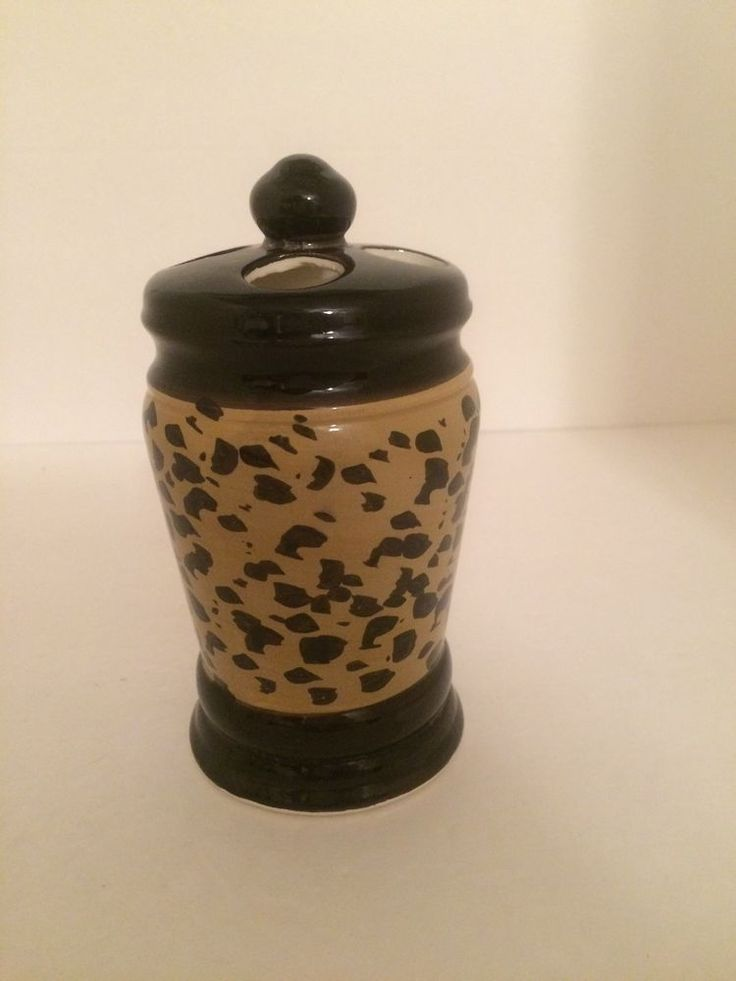 Leopard Ceramic Toothbrush Holder Bath Jungle Safari Animal Print Decor #Unbranded