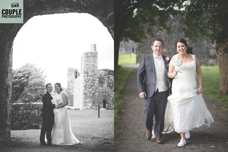 The bride & groom under the arch at Fore Abbey, and the bride is very comfy for her photo shoot in her white vans. Weddings at Mullingar Park Hotel by Couple Photography.