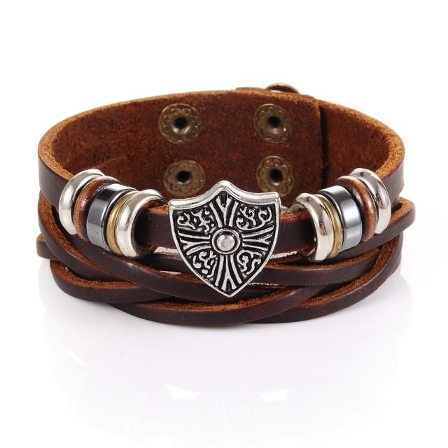 Cross in Coat of Arms Charm Cuff Leather Bracelet