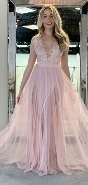 388d288a4845 pale pink v neck side slit tulle long evening prom dresses cheap custom  sweet dresses prom promdresses.