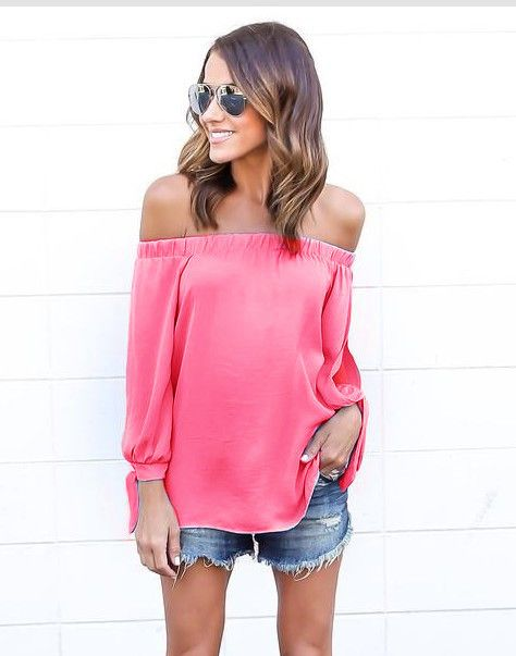 Off-shoulder Strapless Pure Color Chiffon Sexy Blouse