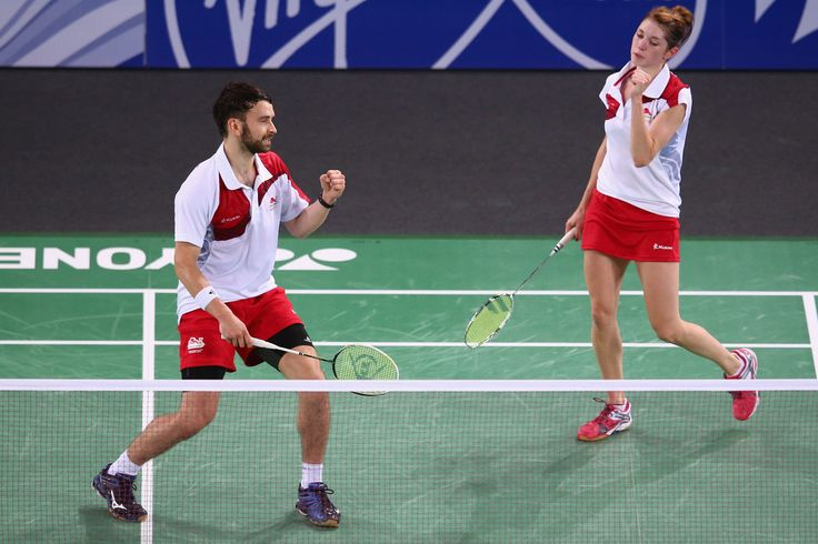 Chris Langridge and Heather Olver of England. 20th Commonwealth Games: Badminton