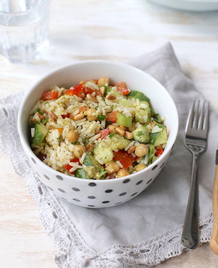 Lekker en snel: maaltijdsalade met rijst en kikkererwten | Flairathome.nl